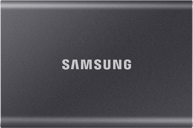 Samsung PSSD T7 - Disco duro externo, 2 TB, Conector USB 3.1 y tipo C, Gris