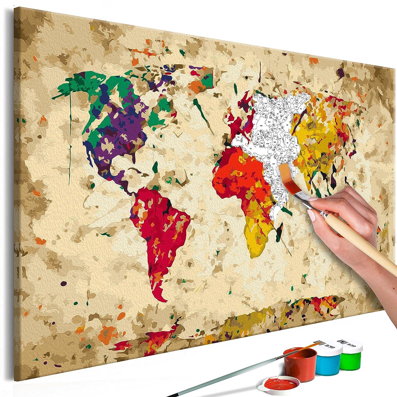 Murando - Malen nach Zahlen Weltkarte 100x50cm 5 TLG Malset DIY n-A-0231-d-m B07B3Z4FQH   Perfekte Verarbeitung