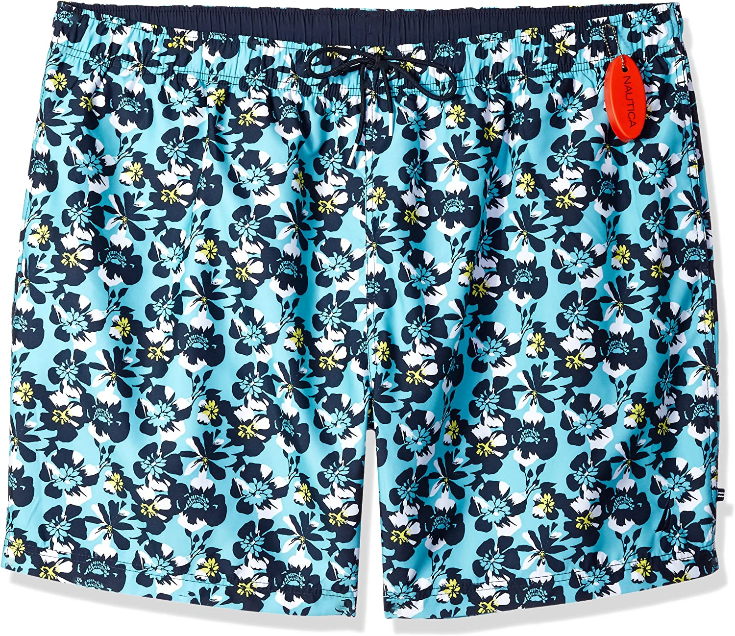 Nautica Big and Tall Quick Dry Full Elastic Waist Signature Print Swim Trunk