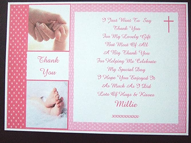 25 50 75 Or 100 X Personalised Christening Baptism Thank You