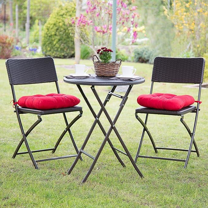 Relaxdays Set Muebles de jardín Bastian, Plegable, 3 Partes ...