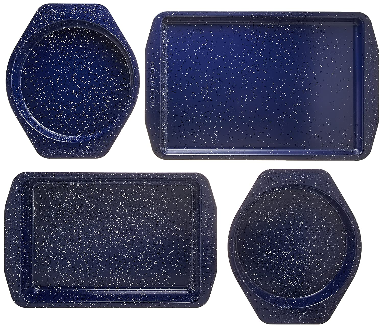 Paula Deen Nonstick Speckled Bakeware 4-Piece Bakeware Set, Deep Sea Blue Speckle 46812