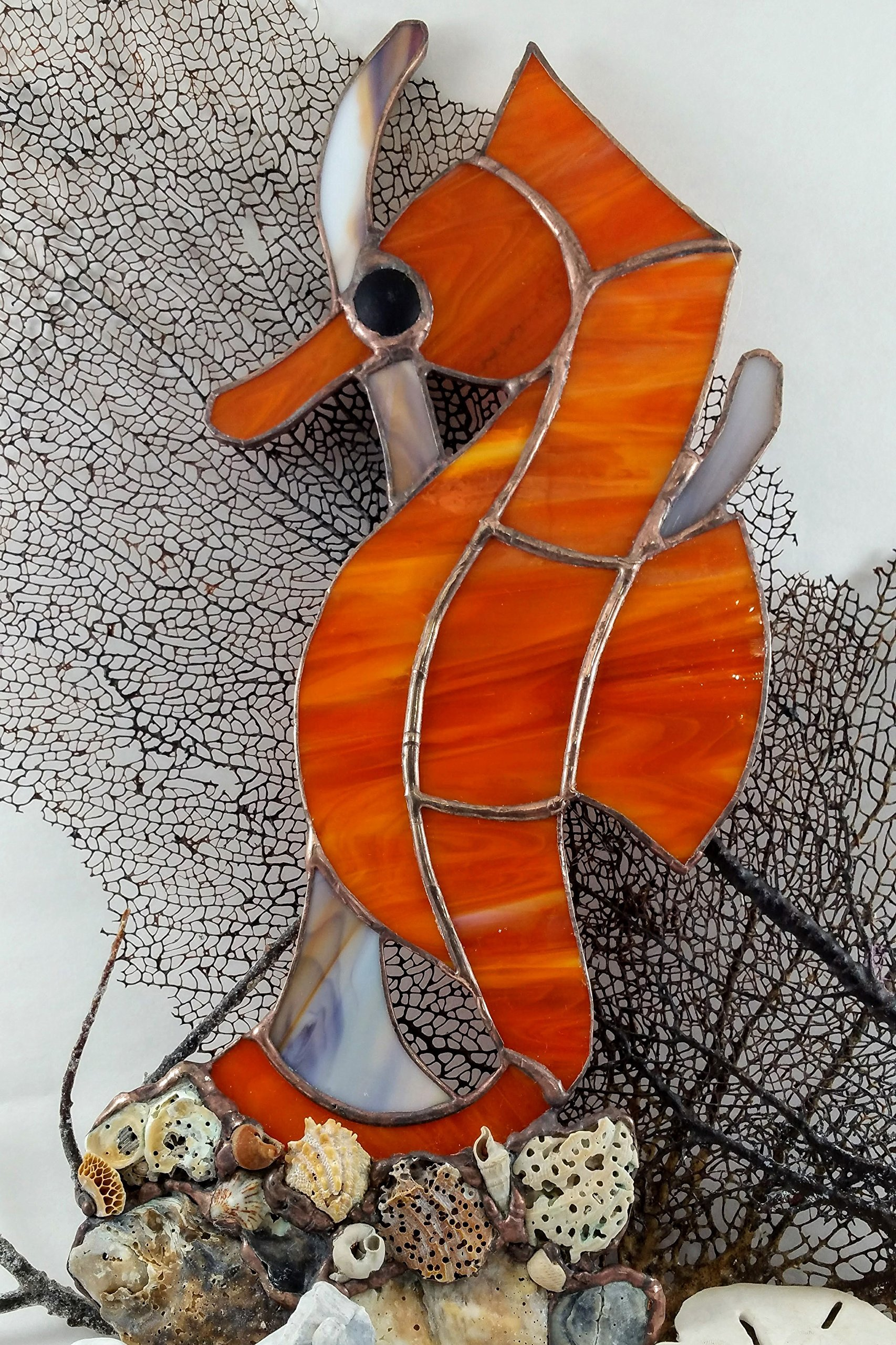 Handmade Stained Glass Orange Seahorse Seashell Wall Hanging Aquatic Window Ocean Suncatcher