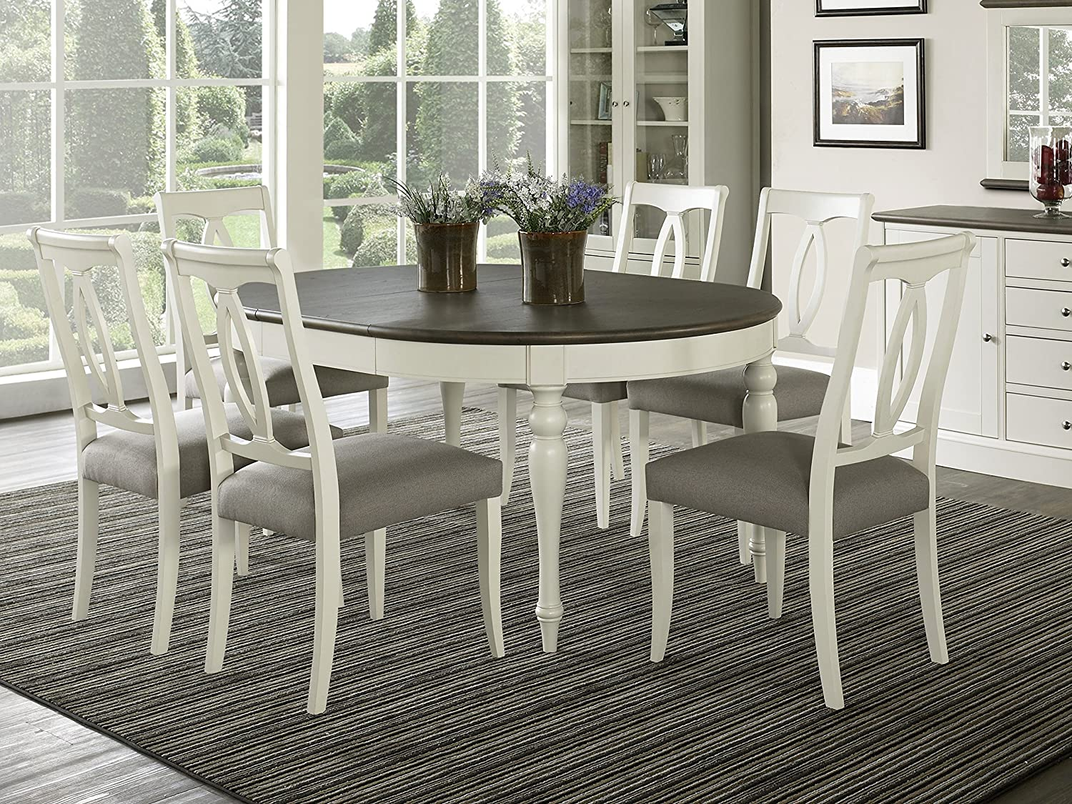 Everhome Designs - Vegas 7 Piece Round To Oval Extension Dining Table Set  for 6 (Oval Back Chairs)