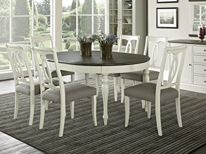 Everhome Designs Vegas 7 Piece Round To Oval Extension Dining Table Set For 6 Oval Back Chairs