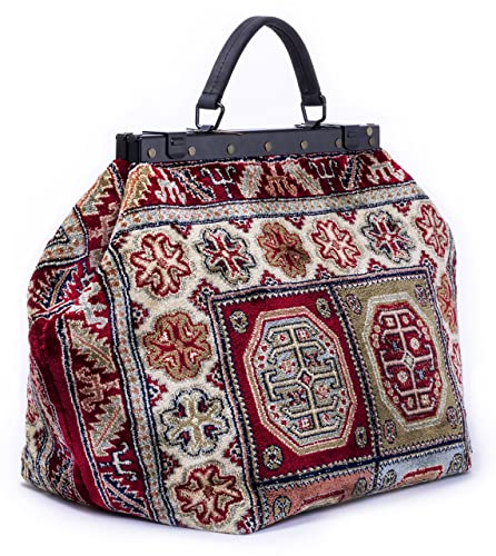 Vintage & Retro Handbags, Purses, Wallets, Bags Carpet Bag SAC-VOYAGE Aztec Red - Magical Mary Poppins Vintage-Style Carpet Bag with leather handle and detachable strap. $369.95 AT vintagedancer.com