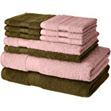 Amazon Brand - Solimo 100% Cotton 10 Piece Towel Set, 500 GSM (Brown and Baby Pink)