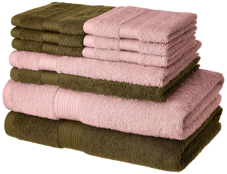 Amazon Brand – Solimo 100% Cotton 10 Piece Towel Set, 500 GSM