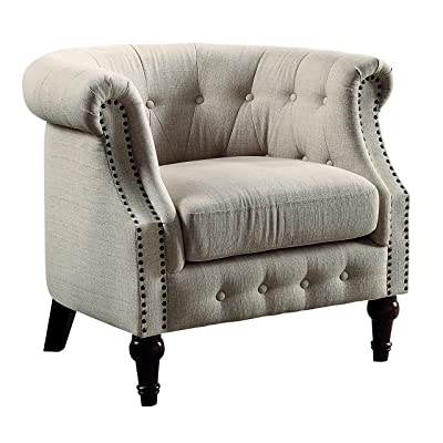HOMES: Inside + Out IDF-AC6185 Frida Accent Modern Fabric Armchairs, Ivory