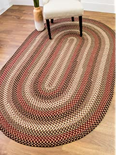 Colonial Red Area Rug, Braided Textured Design, 5Ft. X 8Ft. Oval Reversible