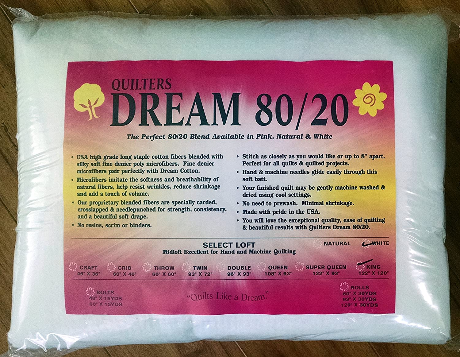 Quilter's Dream 80/20, White, Select Loft Batting - King Size 122X120 Quilter' s Dream 80/20 EWK