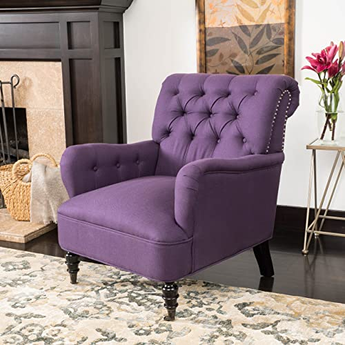 Christopher Knight Home Randl Haven Linen Tufted Chair, Dark Purple