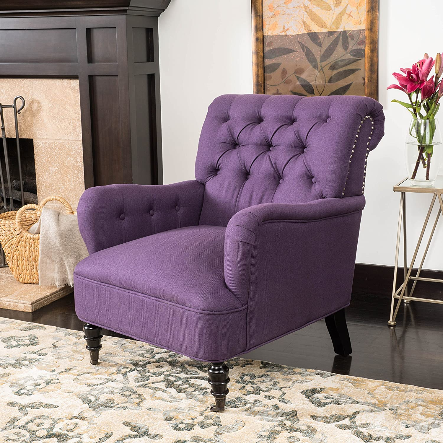 Amazon Renate Haven Linen Tufted Club Chair w Nail head