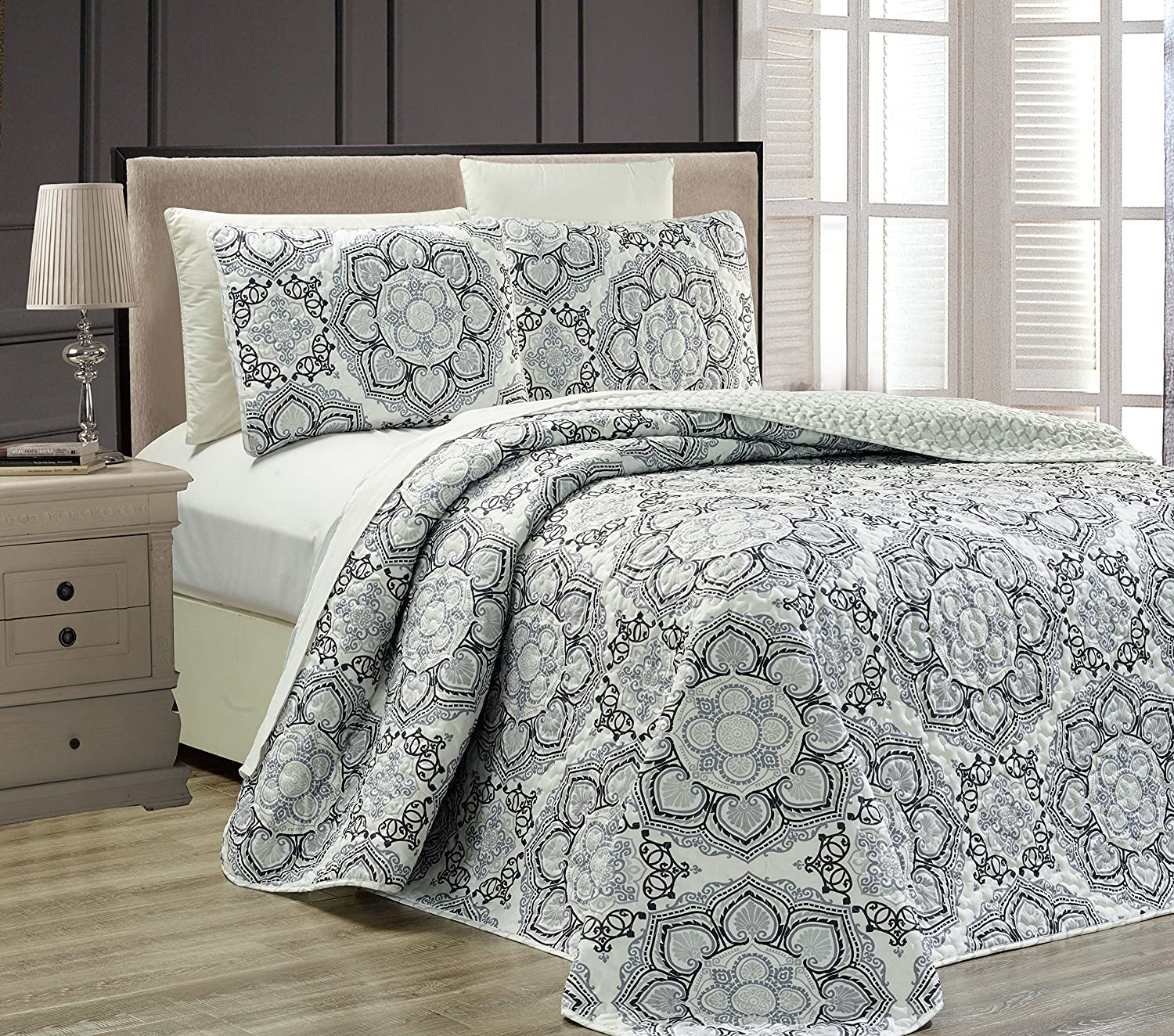 "Fancy Collection 3 pc Bedspread Bed Cover Modern Reversible White Grey Black New #Linda Grey King/California King Over Size 118"" x 95"""