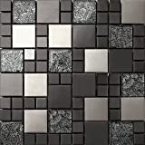 Mattonelle a mosaico in acciaio inox e vetro, in nero e argento, 30 cm x 30 cm x 8 mm (MT0002), opaco
