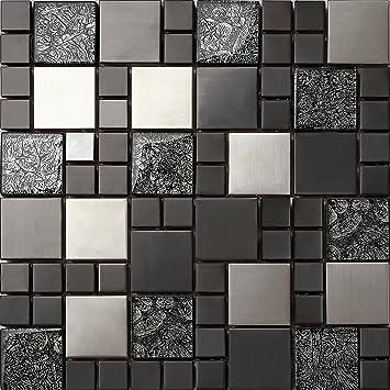Glas Und Edelstahl Mosaik Fliesen Matte In Schwarz Und Silber 30cm X