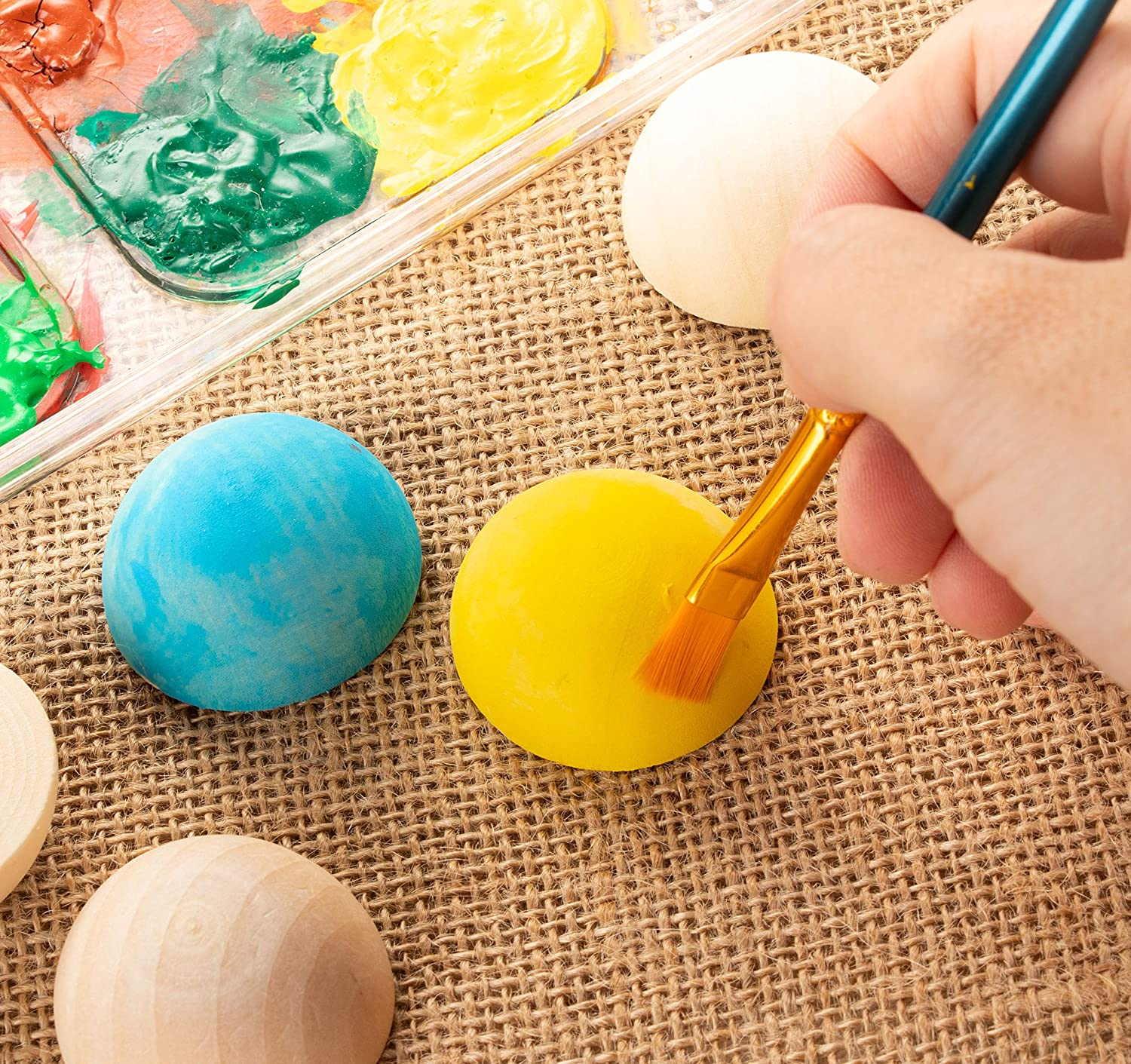30-Pack Unfinished Half Wooden Balls Half Craft Balls for DIY Projects Split Wood Balls 1.5 Inches Diameter Mini Hemisphere Kids Arts and Craft Supplies