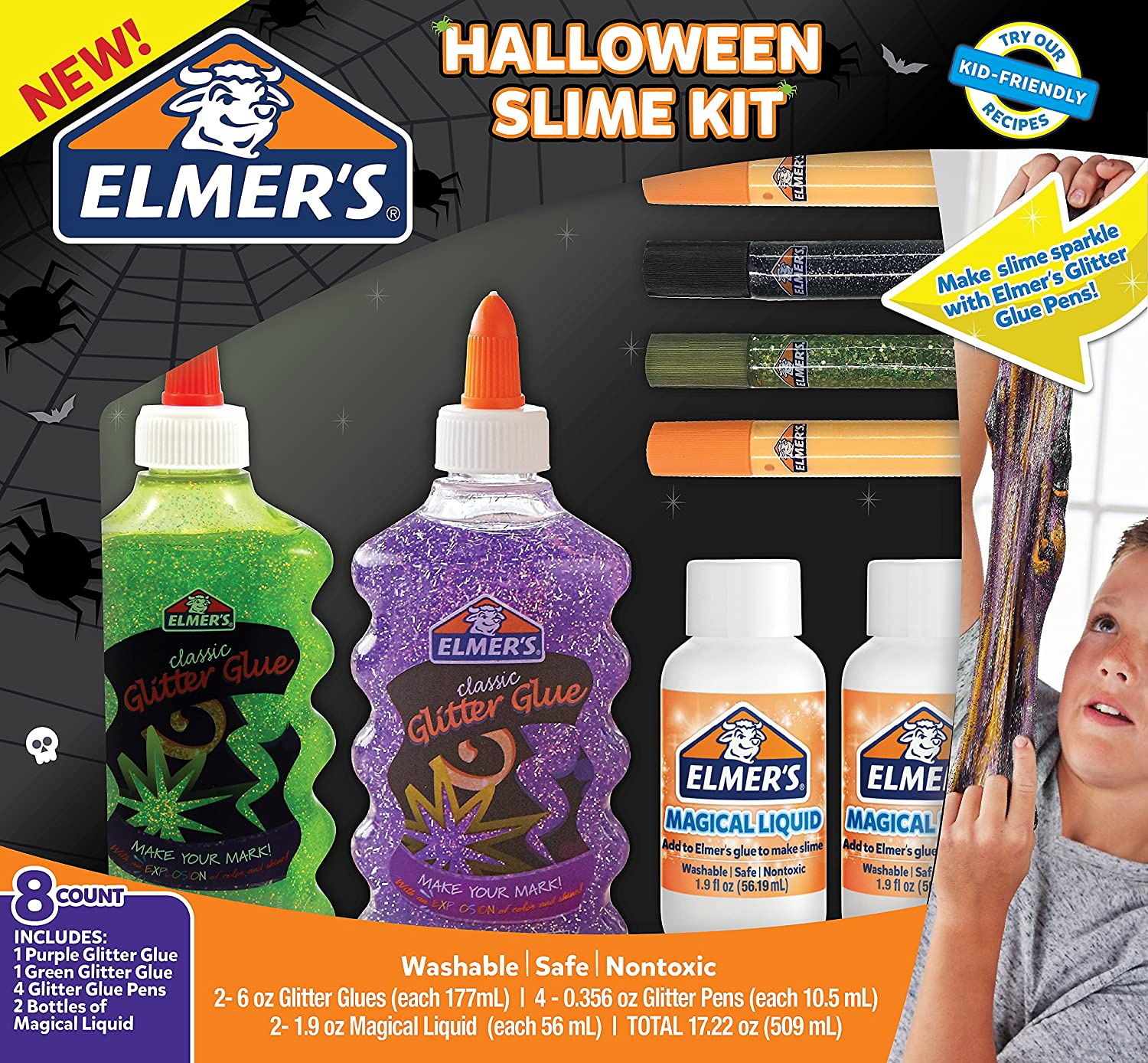 amazoncom elmers halloween slime kit glitter glue glitter pens magical liquid activator solution 8 count office products - Kid Friendly Halloween Movie