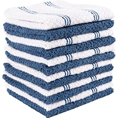 KAF Home Pantry Piedmont Terry Dish Cloths | Set of 12, 12 x 12 inches, Absorbent Terry Dish Cloths, Wash Cloths, Bar Mop Rags | Perfect for Spills, and Wiping Counter Tops - Paris Blue