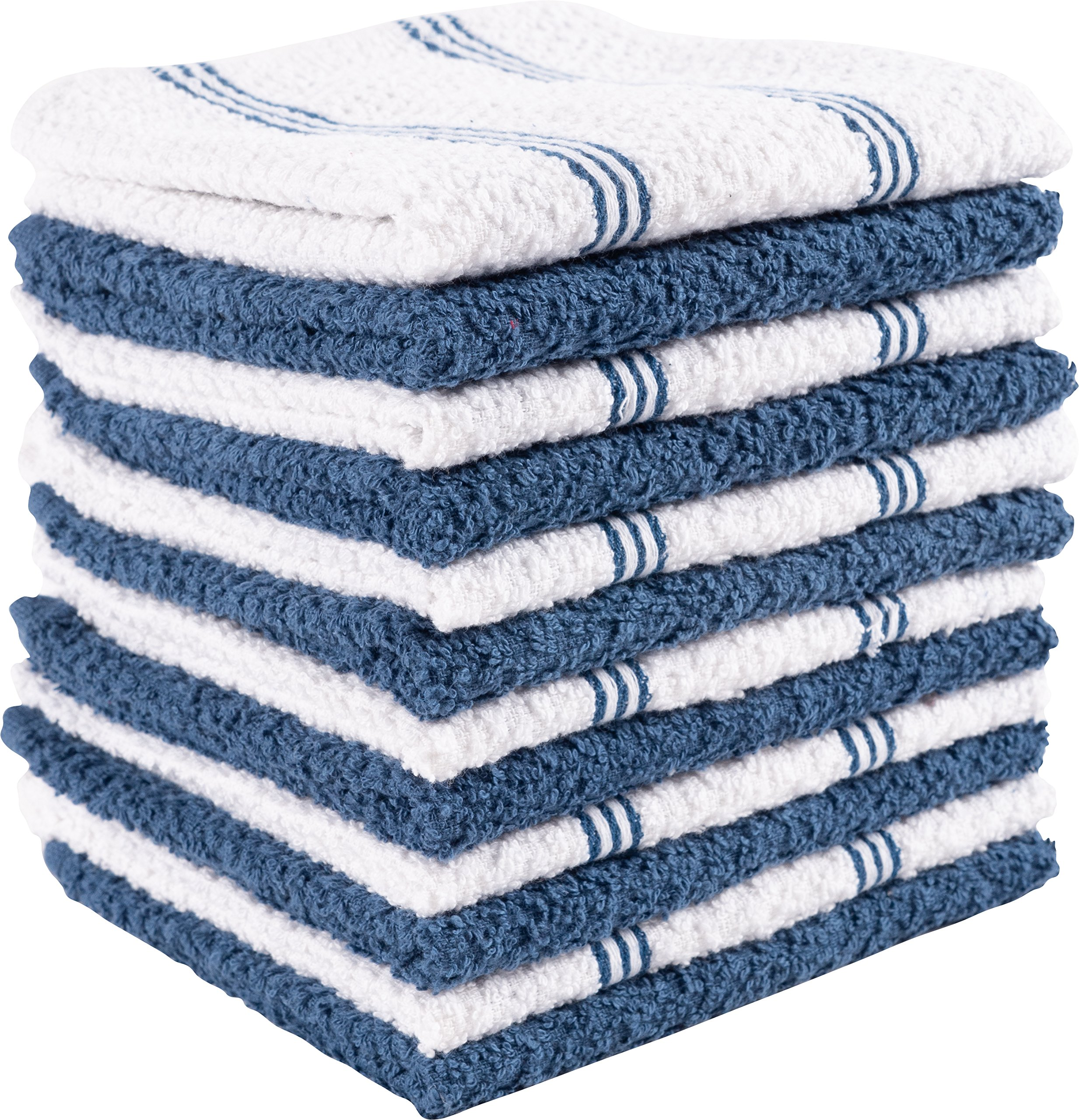 KAF Home Pantry Piedmont Dish Cloths (Set of 12, 12x12 inches), 100% Cotton, Ultra Absorbent Terry Towels - Paris Blue