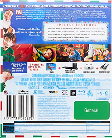 Amazon Com Arthur Christmas 3d Blu Ray Bill Nighy Jim Broadbent Hugh Laurie James Mcavoy Sarah Smith Movies Tv