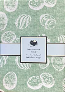 Well Dressed Home Fabric Tablecloth Easter Eggs on a Spring Green Background Table Cover - 60 Inches by 84 Inches