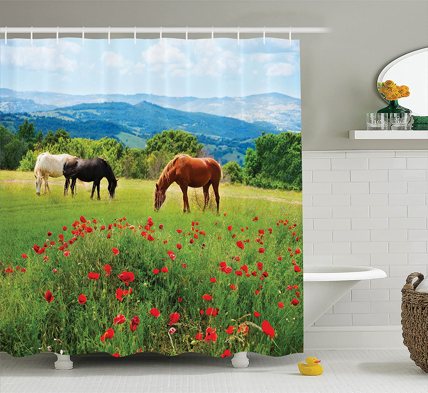 Polyester Fabric Bathroom Set with Hooks Yellow Red Sun seen Through Misty Old in Fall Season Morning View Dreamy Scenic Picture Ambesonne Forest Shower Curtain Tree Woodland Decor