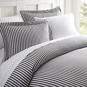 Simply Soft Ultra Soft Patterned 3 Piece Duvet Cover Set, King, Ribbon Gray