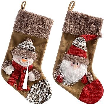 WeRChristmas - Calcetines de Navidad, diseño de Papá Noel y muñeco de Nieve, 48 cm, 2 Unidades, Color marrón: Amazon.es: Hogar