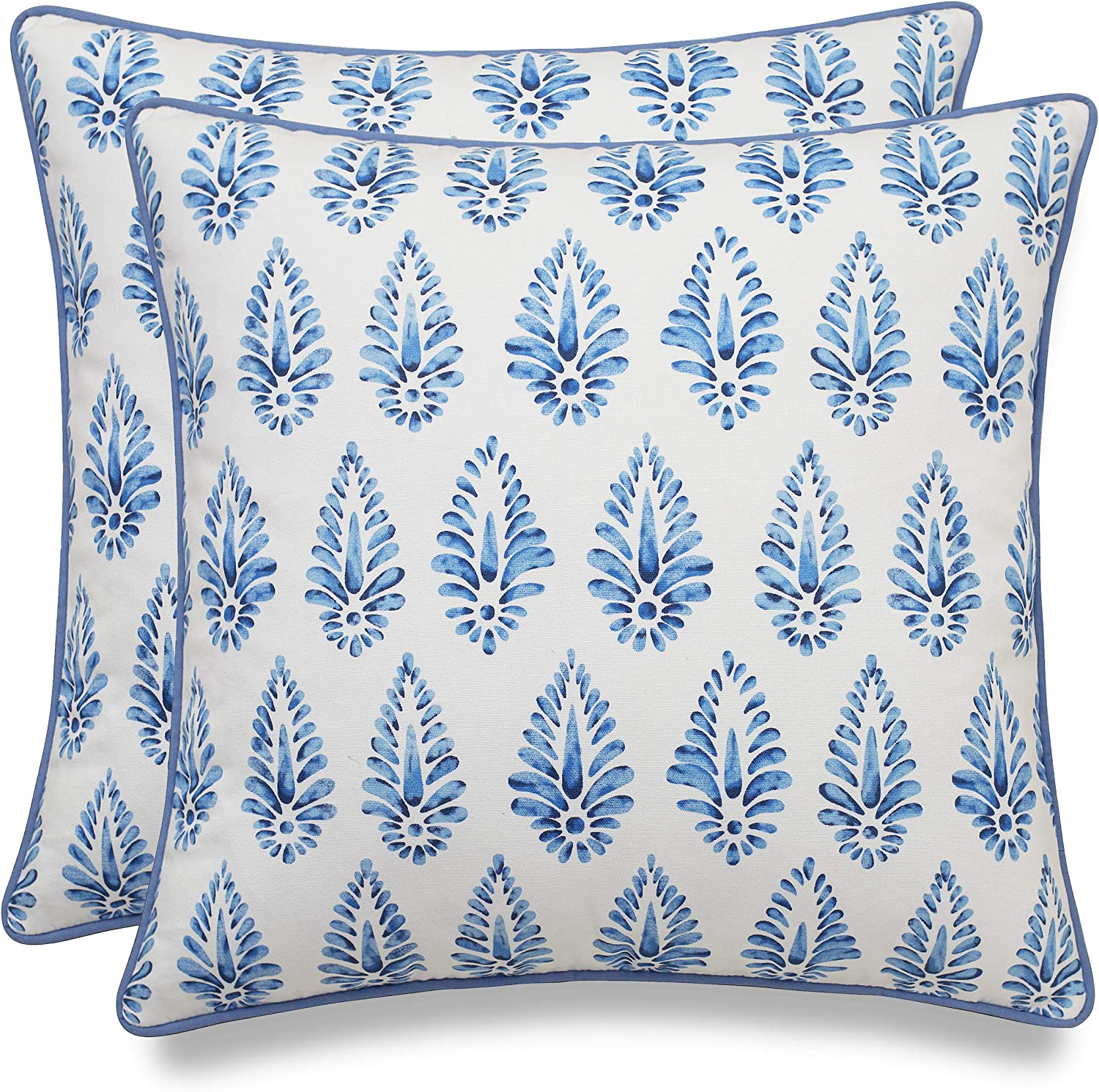 MANOJAVAYA Set of 2 Pcs Printed Booti Decorative Square Accent Throw Pillow Cover - Home Decor for Couch, Sofa, Chair - 18x18, Blue