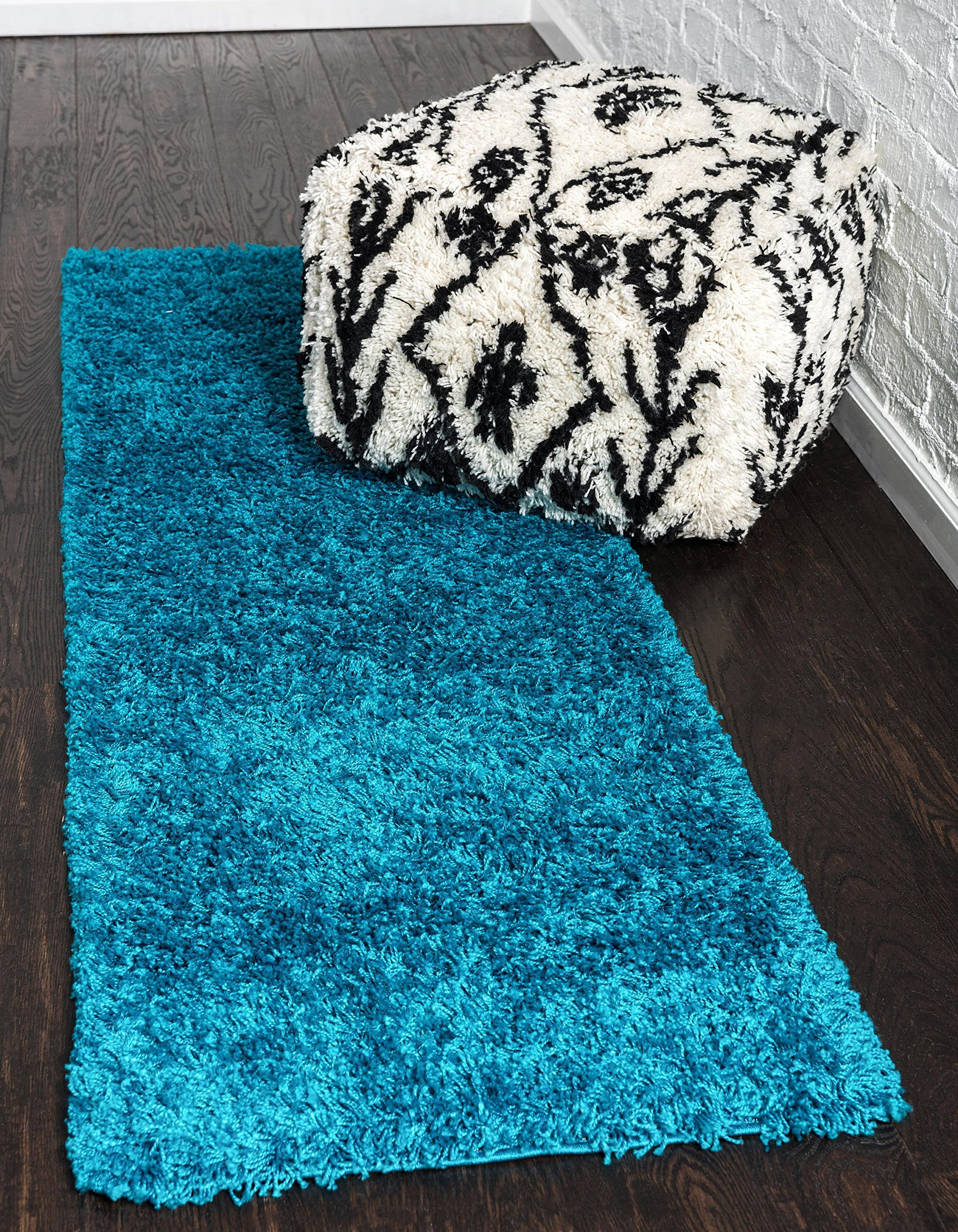Unique Loom Solo Solid Shag Collection Modern Plush Turquoise Runner Rug (2' 6 x 16' 5)