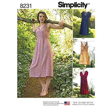 Simplicity Pattern 8231 R5 Misses' Dress in Two Lengths by Sew House Seven, Size 14-16-18-20-22