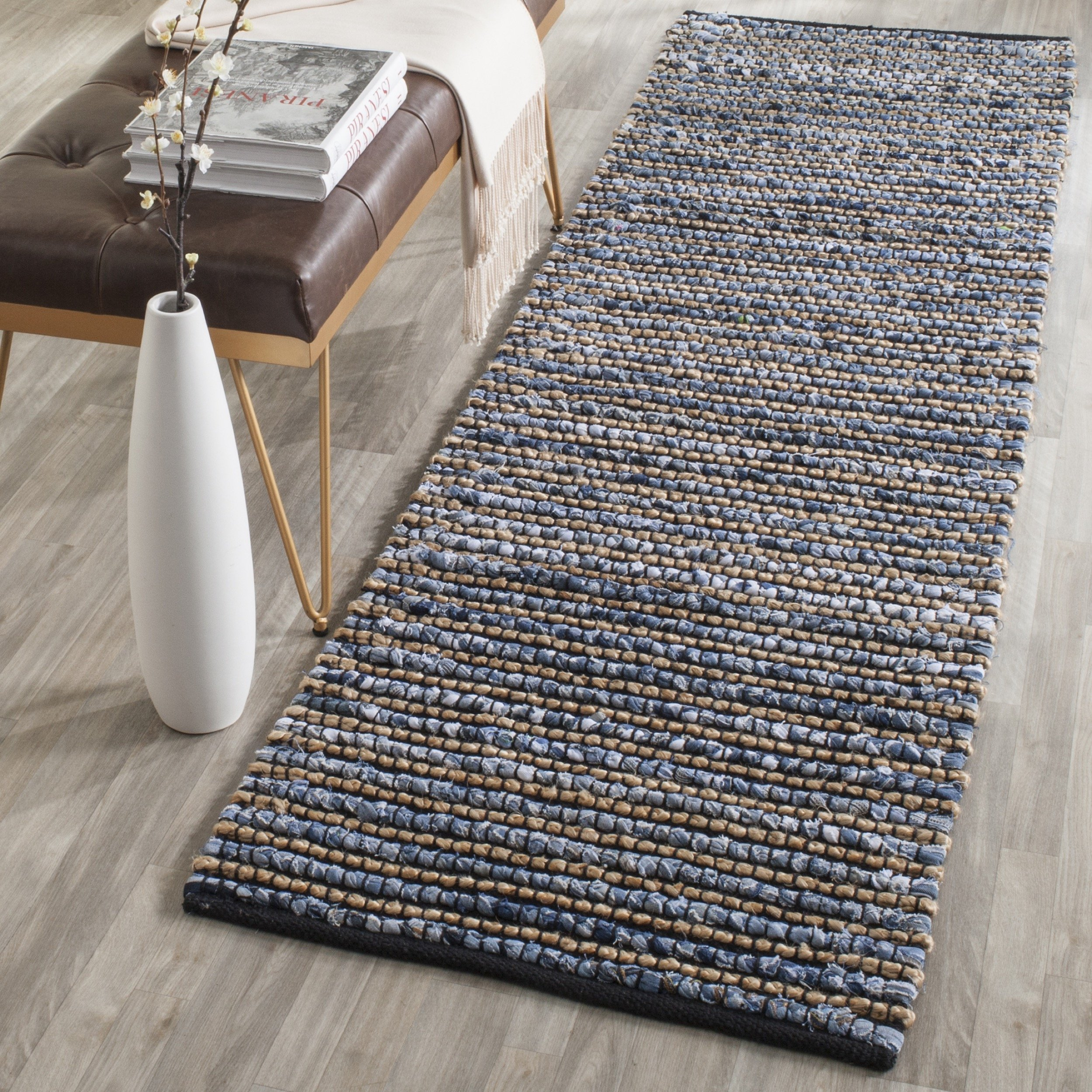Safavieh Cape Cod Collection CAP365A Hand Woven Blue Jute Runner (2'3'' x 6') by Safavieh (Image #1)