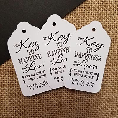 Key to Happiness is Love and the ability to open a bottle Personalized White card stock Favor Tag set of 50 tags