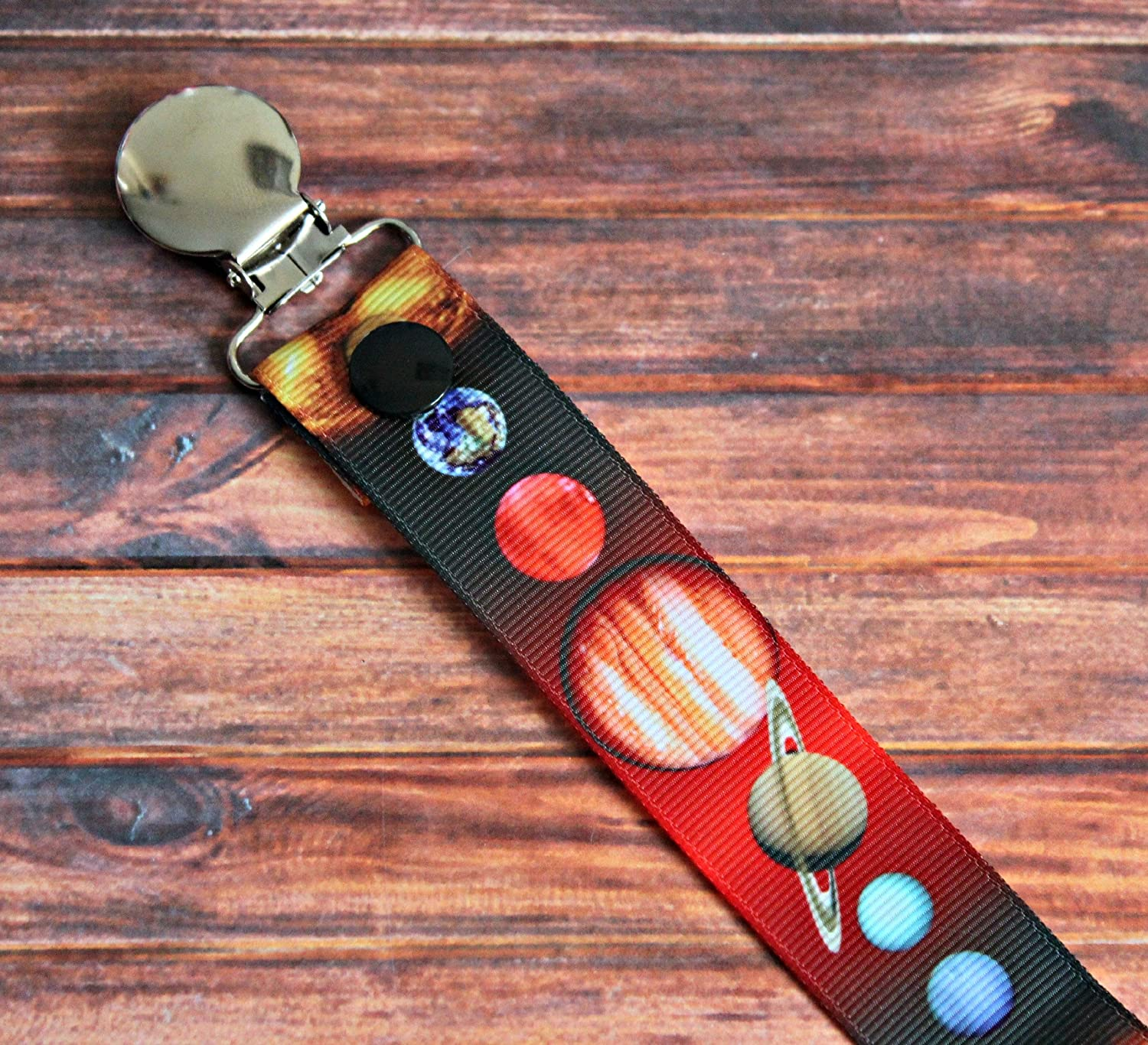 Solar System Outer Space Pacifier clip binky soother strap
