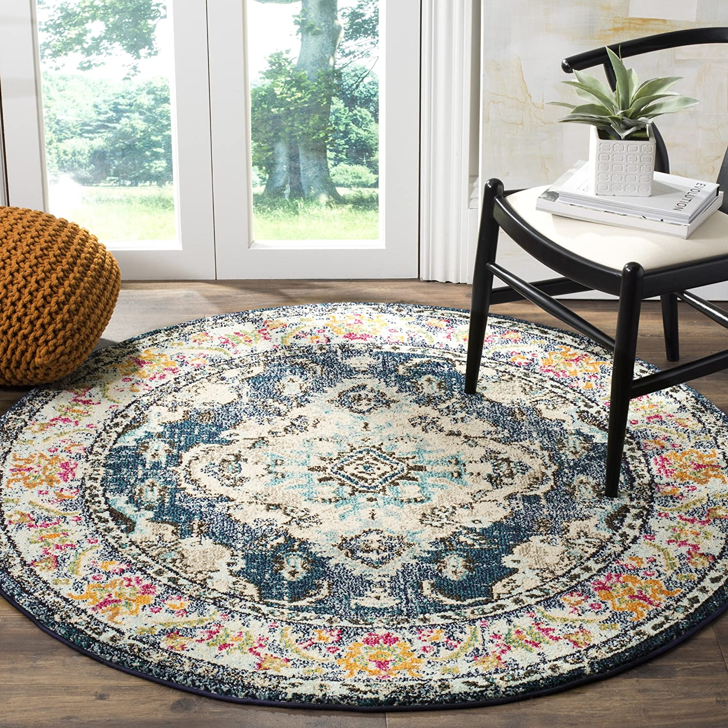 Navy Light bluee 5' Round Safavieh Monaco Collection MNC243G Vintage Oriental Grey and Light bluee Distressed Runner (2'2  x 12')