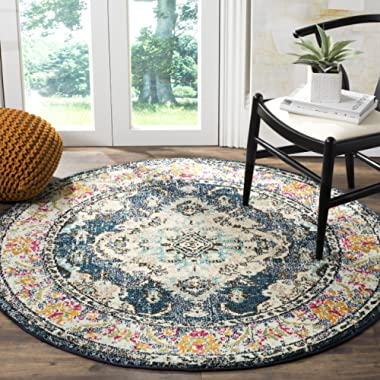 Safavieh Monaco Collection MNC243N Vintage Bohemian Navy and Light Blue Distressed Round Area Rug (5' in Diameter)