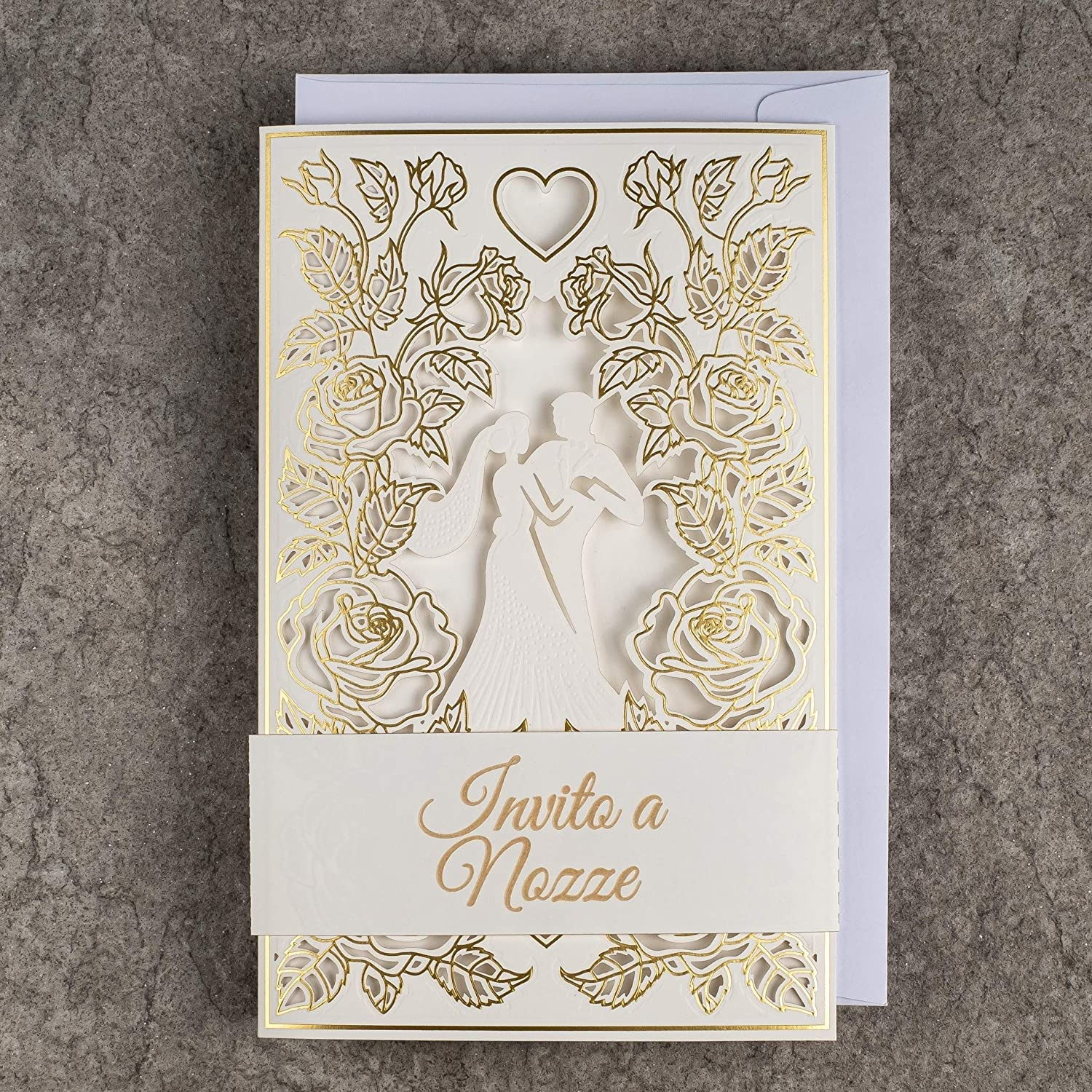 20pcs Gold Foiled Design ON Double Coated Paper 120x170mm with Printable Inners and ENVELOPES for Wedding Art NUVO Wedding Invitations Cards