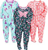 Simple Joys by Carter's 3-Pack Loose Fit Flame Resistant Polyester Jersey Footed Pajamas Bebé-Niñas, Pack de 3