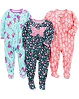 Simple Joys by Carter's Baby Girls' 3-Pack Loose Fit, Light Weight Polyester Footed Pajamas