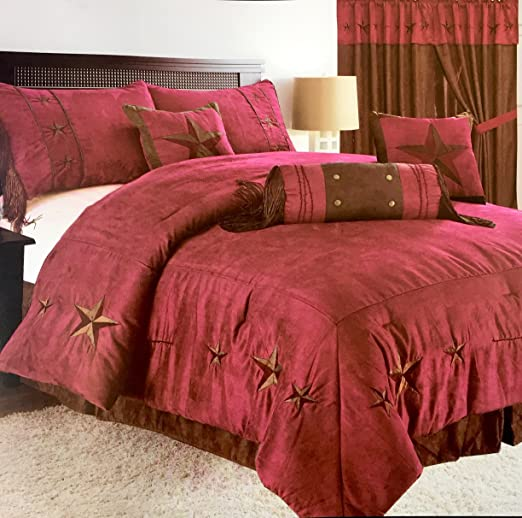 Rustic Brown Embroidery Texas Turquoise Star Western Luxury Comforter Suede 7Pc