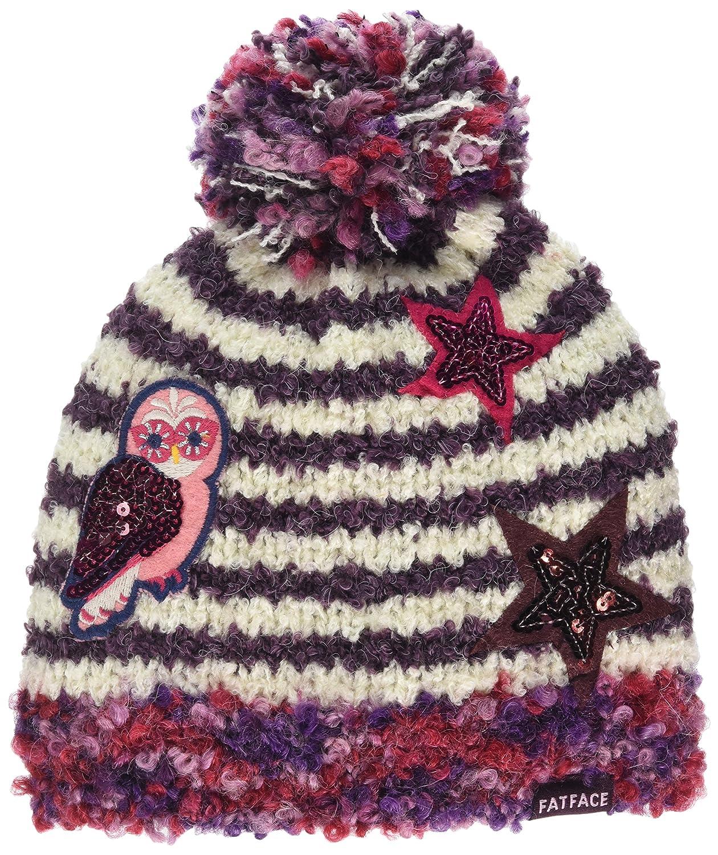 Fat Face Girl's Stripe Badge Beanie Hat (Purple Grape) Small (Size: S) 926273