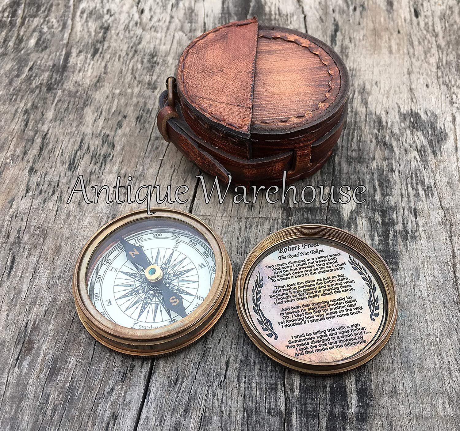 C-3265 MARINE ART HANDICRAFTS MAH Robert Frost Poem Engraved Antiquated Finish Brass Compass with Case