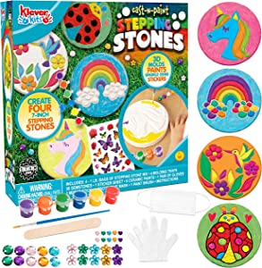 Mold Your own Stepping Stones Set 4 Unique 3-D Molding Tray Gemstones Painting Supplies Kids Crafts for Kids, Girls and Boys