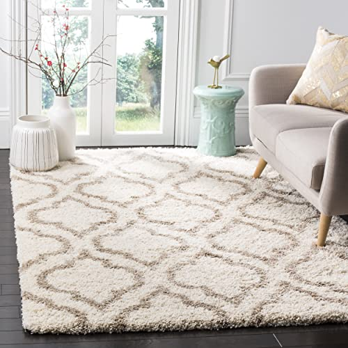 Safavieh Hudson Shag Collection SGH284D Ivory and Beige Moroccan Geometric Area Rug 6 x 9