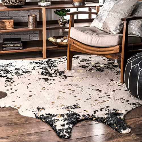 nuLOOM Iraida Faux Cowhide Shaped Area Rug