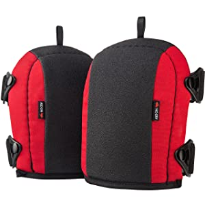 NoCry Flooring and Roofing Knee Pads with Foam Padding and No-slip Leather Stabilizers, Strong Double Straps and Adjustable Easy-Fix Clips