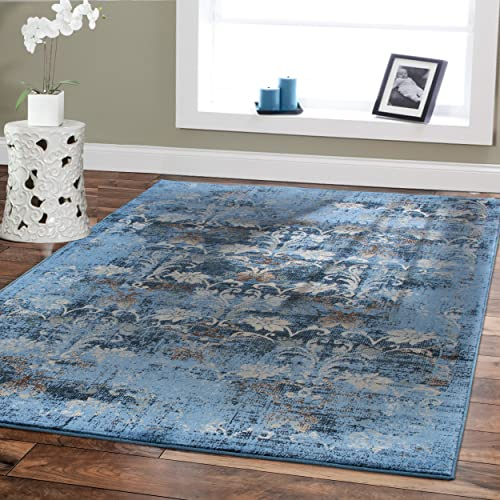 Premium Soft 8×11 Modern Rugs Dining Room Blue Rugs Blue Beige Brown Ivory Navy Floral Carpet Rugs Fashion 8×10 Bedroom Rugs Liviong Room Rugs Contemporary Area Rugs 8×10 Under 100