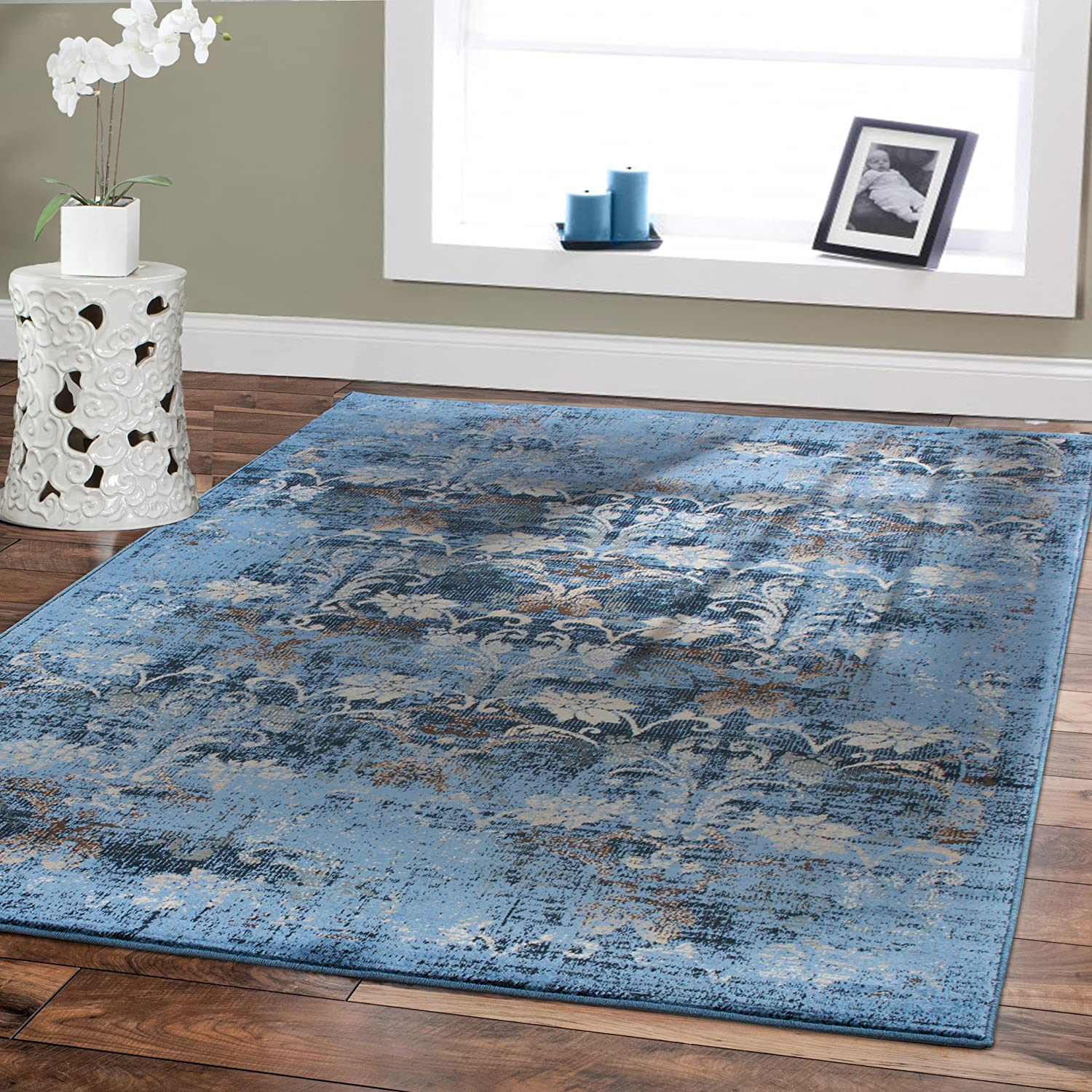 Amazon Premium Soft 8x11 Modern Rugs For Dining Room Blue Beige Brown Ivory Navy Floral Carpet Fashion 8x10 Bedroom Liviong
