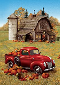 Custom Decor Fall Barn Truck - Garden Size, Decorative Double Sided, Licensed and Copyrighted Flag - Printed in The USA Inc. - 12 Inch X 18 Inch Approx. Size